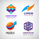Vector set of abstract colorful logos, company icons. Geometric. Cube signs Royalty Free Stock Images