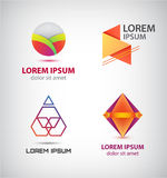 Vector set of abstract colorful logos, company icons. Geometric, cube signs Stock Photos