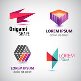 Vector set of abstract colorful logos, company icons. Origami, geometric signs Stock Images