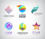 Vector set of abstract colorful logos, icons. Vector set of abstract colorful  icons. Star, cube, loop Stock Images
