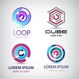 Vector set of abstract colorful loop logos, circle web royalty free illustration
