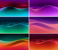 Vector Set of Abstract Colorful Multicolored Wave Backgrounds Stock Photos