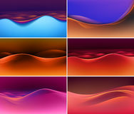 Vector Set of Abstract Colorful Multicolored Wave Backgrounds Stock Image