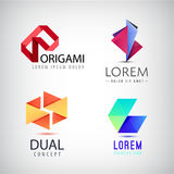 Vector set of abstract colorful ribbon logos, origami, paper 3d icons isolated. Identity for company, web site logos. Origami abstract 3d Royalty Free Stock Photos