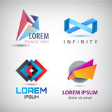 Vector set of abstract colorful ribbon, origami logos, paper, 3d ions, logos . Royalty Free Stock Photography