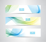 Vector set of abstract colorful wavy headers, water flow banners. Royalty Free Stock Images