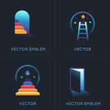 Vector set of abstract concepts and logo design elements. In bright gradinet colors - embelms for new businesses, strat ups, educational projects vector illustration
