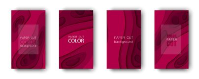 Vector set of abstract cover backgrounds in paper cut style. Paper art design template for business presentations. Report covers, flyers, posters, banners Royalty Free Stock Images