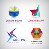 Vector set of abstract 3d colorful logos. Arrows, origami crystal Royalty Free Stock Photos