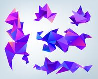 Vector set of abstract 3d facet crystal shapes, banners. Design template. Isolated. Purple. Blue color royalty free illustration