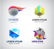 Vector set of abstract 3d logos. Sphere, crystal, origami company signs Stock Image