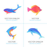 Vector set of abstract emblems and logo design templates. In bright gradient colors - fish icons and signs Stock Image