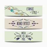 Vector set of abstract ethnic banners with arrows, feathers. And geometric ornaments. Boho design brochure templates. Modern colorful tribal backgrounds Royalty Free Stock Images