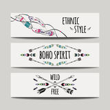 Vector set of abstract ethnic banners with arrows, feathers and geometric ornaments. Boho design brochure templates. Modern colorful tribal backgrounds Stock Images