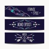 Vector set of abstract ethnic banners with arrows, feathers and geometric ornaments. Boho design brochure templates. Modern colorful tribal backgrounds Royalty Free Stock Photo