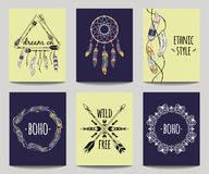 Vector set of abstract ethnic flyers with arrows, dreamcatcher. Feather frames. Boho design brochure templates. Modern colorful tribal backgrounds Royalty Free Stock Image