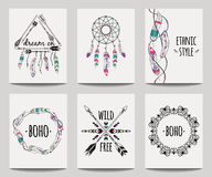 Vector set of abstract ethnic flyers with arrows, dreamcatcher, feather frames. Boho design brochure templates. Modern colorful tribal backgrounds Stock Images