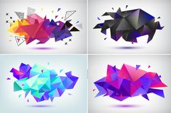 Vector set of abstract facet 3d shapes, geometric banners. Low poly triangle posters, modern concept background. S royalty free illustration