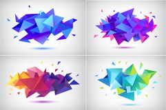 Vector set of abstract facet 3d shapes, geometric banners. Low poly triangle posters, modern concept background. S vector illustration