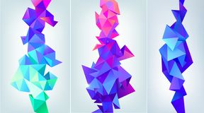 Vector set of abstract facet 3d shapes. Geometric triangles banners, vertical orientation. Colorful, futuristic modern stock illustration