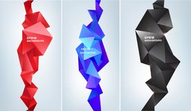 Vector set of abstract facet 3d shapes. Geometric triangles banners, vertical orientation. Colorful, futuristic modern vector illustration