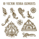 Vector set with abstract floral elements in indian style. Henna collection Stock Photography