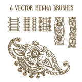 Vector set with abstract floral elements in indian style. Henna collection. Ornamental seamless borders Stock Images