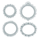 Vector set with abstract floral frames in indian style. Royalty Free Stock Photography