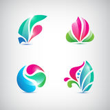 Vector set of abstract floral icons Royalty Free Stock Photo