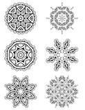 Vector set 6 abstract floral round lace ornament Royalty Free Stock Photos