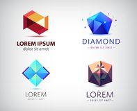 Vector set of abstract geometric 3d logos, shapes. Crystal facet origami Logo Collection. graphic design elements for. Your company. Creative business icons vector illustration