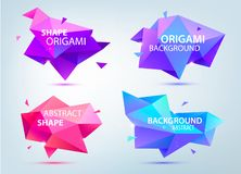 Vector set of abstract geometric 3d shapes, origami low poly, paper, facet backgrounds, bubble. S, tags stock illustration