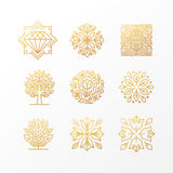 Vector set of abstract golden signs Stock Photography