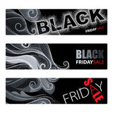 Vector set with abstract horizontal banners with dotted swirls and dotted Black Friday sale text in red and white on the black. Vector set with abstract vector illustration