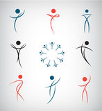 Vector set of abstract line man, sport, dance, Royalty Free Stock Photos