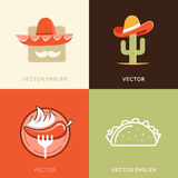 Vector set of abstract logo design templates and badges Stock Photography