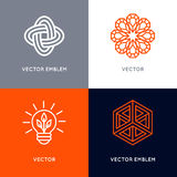 Vector set of abstract logo design templates in trendy linear st Stock Image