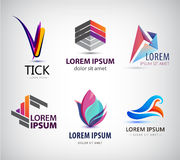 Vector set of abstract logo design, web icons. 3d templates, colorful symbols for company identit. Y, ad, website. Geometric, sphere, origami, business logos Royalty Free Stock Photography
