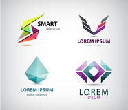Vector set of abstract logos, company icons isolated. Royalty Free Stock Photography