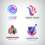 Vector set of abstract logos, company icons isolated. Stock Photos