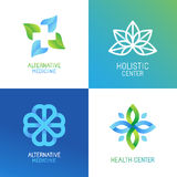 Vector set of abstract logos and emblems. Alternative medicine concepts and health centers insignias in gradient blue and green colors Stock Images