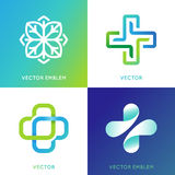 Vector set of abstract logos and emblems - alternative medicine. Concepts and health centers insignias in gradient blue and green colors - plus signs Stock Images