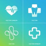 Vector set of abstract logos and emblems - alternative medicine. Concepts and health centers insignias in gradient blue and green colors Stock Images