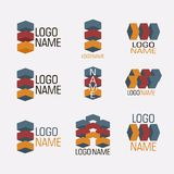 Vector set of abstract logos icons isolated. Vector set of abstract colorful logos, 3d icons isolated. Identity for company, web site logos Stock Photo