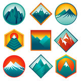 Vector set with abstract logos  - mountains Royalty Free Stock Photos