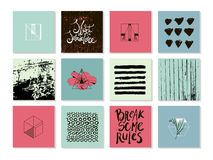 Vector set of abstract modern trendy cards. Stock Photo