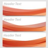 Vector set of abstract orange and red wave header banners Royalty Free Stock Images