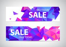 Vector set of abstract origami geometric sale banners. Purple low poly facet promotion banner. S royalty free illustration