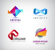 Vector set of abstract origami logos, icons. Infinity, crystal Stock Images