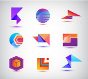 Vector set of abstract origami, sphere, geometric colorful 3d logos. Company identity Royalty Free Stock Image